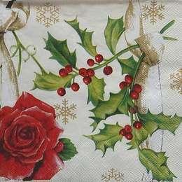 9684. Роза и рождественская ягода на бежевом. 5 шт., 13 руб/шт