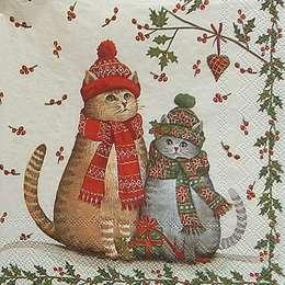 9687. Рождественские коты на бежевом. 5 шт., 20 руб/шт