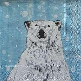 9688. Белый медведь на голубом
