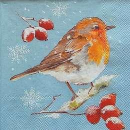 9690. Снегирь на ветке рябины на голубом