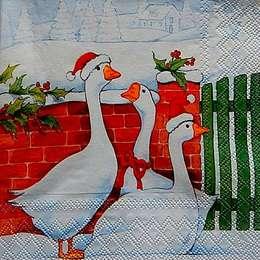 9696. Рождественские гуси у забора. 5 шт., 17 руб/шт