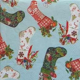 9698. Новогодние носки с подарками на голубом