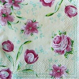 9715. Розовые цветы на бежевом. 5 шт., 8 руб/шт
