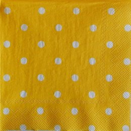 9723. Белый горошек на желтом фоне. 5 шт., 10 руб/шт