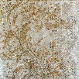 9743. Золотые цветы на бежевом. 5 шт., 17 руб/шт