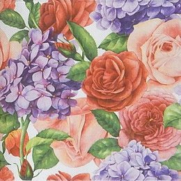 9827. Розы и сирень. Двухслойная. 5 шт., 8 руб/шт