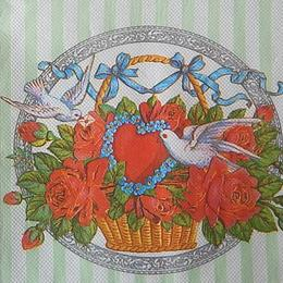 9839. Корзина роз и голуби. Двухслойная. 20 шт., 4.50 руб/шт