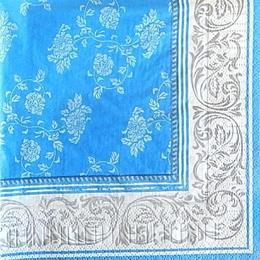 9854. Узор на синем с белым бордюром