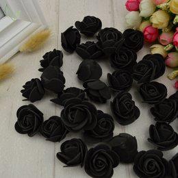 hm-1659. Розочка из фоамирана, черная. 50 шт., 3 руб/шт