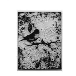 hm-1665. Силиконовый штамп Птичка на ветке