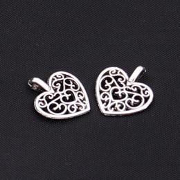 hm-1037. Подвеска Ажурное сердце, цвет серебро