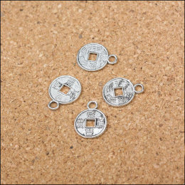 hm-1040. Подвеска Монетка, цвет серебро. 5 шт., 8 руб/шт