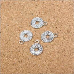 hm-1040. Подвеска Монетка, цвет серебро