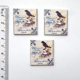 hm-1053. Пуговица Почтовая марка-7, дерево