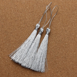 hm-1058. Кисточка, цвет серебро. 10 шт., 18 руб/шт