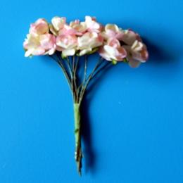 hm-1121. Розочки бумажные, бело-розовые. 12 шт.