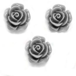 hm-1254. Кабошон Роза, цвет серый, 5 шт., 8 руб/шт
