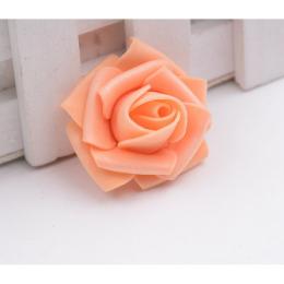 hm-1263. Розочка из фоамирана, персиковая, 5 шт., 9 руб/шт
