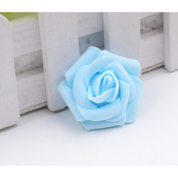 hm-1266. Розочка из фоамирана, голубая, 10 шт., 8 руб/шт