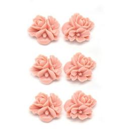 hm-1278. Кабошон Цветок, цвет коралловый