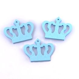 hm-1338. Корона, дерево, цвет голубой, 5 шт., 8 руб/шт