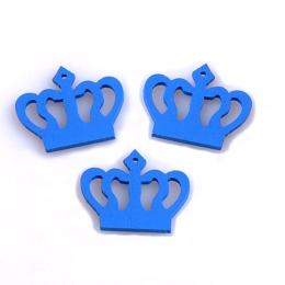 hm-1339. Корона, дерево, цвет синий, 10 шт., 6 руб/шт