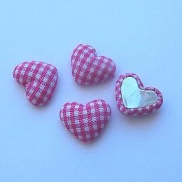 hm-1343. Декор Сердечки в клеточку, цвет ярко-розовый