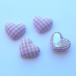 hm-1344. Декор Сердечки в клеточку, цвет розовый. 5 шт., 9 руб/ш