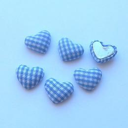 hm-1348. Декор Сердечки в клеточку, голубые, 5 шт.,9 руб/шт