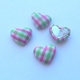 hm-1351. Декор Сердечки в клеточку, цвет зелено-розовый. 5 шт.,