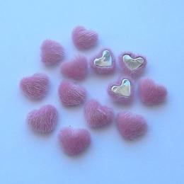 hm-1352. Декор Сердечки пушистые, розовый, 20 шт., 6 руб/шт