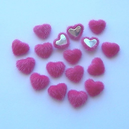 hm-1353. Декор Сердечки пушистые, малиновые, 5 шт., 10 руб/шт