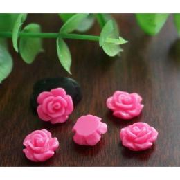 hm-1355. Кабошон Роза, цвет розовый. 20 шт., 4 руб/шт