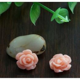 hm-1357. Кабошон Роза, цвет коралловый. 5 шт., 7 руб/шт