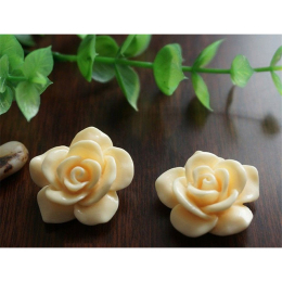 hm-1358. Кабошон Роза, цвет экру. 10 шт., 5 руб/шт