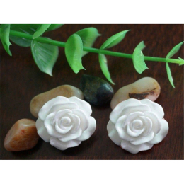 hm-1359. Кабошон Роза, цвет белый. 20 шт., 4 руб/шт