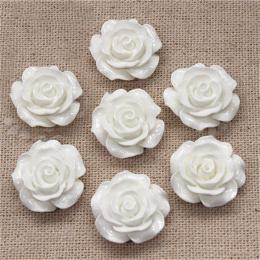 hm-1367. Кабошон Роза, цвет белый. 20 шт., 14 руб/шт