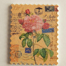 hm-1465. Пуговица Марка с розами, белая