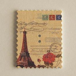 hm-1475. Пуговица Марка с розой Парижа, белая