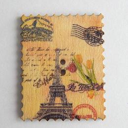 hm-1476. Пуговица Марка с тюльпанами, бежевая