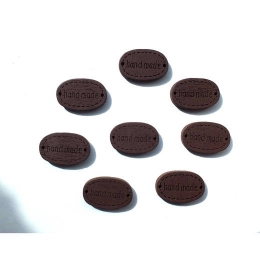 hm-199. Бирка handmade, коричневая 5 шт., 7 руб/шт