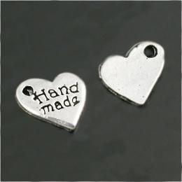 hm-441. Подвеска Сердце hand made, цвет серебро. 20 шт, 8 руб/шт
