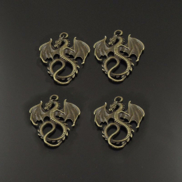 hm-766. Подвеска Дракон, цвет античная бронза. 10 шт., 15 руб/шт