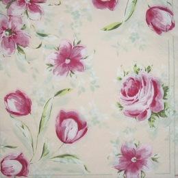 1295. Розовые цветы на бежевом. 5 шт., 11 руб/шт