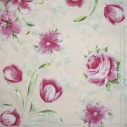 1295. Розовые цветы на бежевом. 15 шт., 6 руб/шт