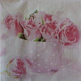 20258. Розовые розы в чашке. 15 шт., 20 руб/шт
