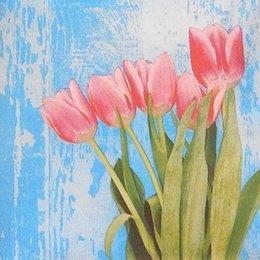 24068. Тюльпаны на голубом. 10 шт., 8 руб/шт