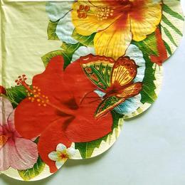 24136. Тропические цветы и бабочка. 5 шт., 14 руб/шт