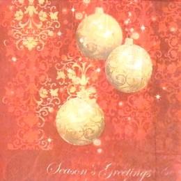 24166. Новогодние шары на красном.