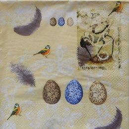 24375. Птицы и перья на желтом. 5 шт., 12 руб/шт
